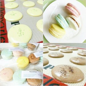 """Introducing another baker friend to everyone ♡ Thx for leaving me a note with your pretty macs @pinn.wheel """"Thanks for the advise!! I just got my silpat mats and I'm already loving them ♥"""" If you haven't tried @mysilpat yet, you're missing out on a great baking tool in your kitchen! #homemademacarons #baking #desserts #macarons #foodblog #foodblogger #silpat #macaronstagram #bakingtips #recipes #indulgewithmimi"""