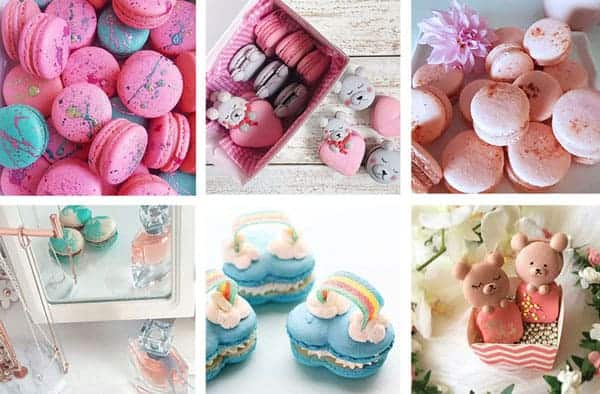 A variety of macarons in different shapes and colors are featured. They are works by readers who have used Mimi's Best Macaron Recipe.