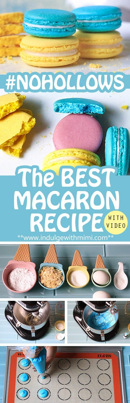 Mimi's best macaron recipe. Non-hollow macarons in the process of being baked with ingredients laid out.