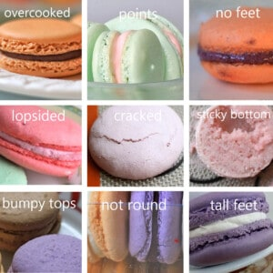 Macarons with various problems like cracks, hollow, lopsided problems are shown.