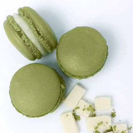 A beloved Japanese flavor in macaron form. Matcha green tea is infused into the shells making the macaron extra flavorful. White chocolate ganache is sandwiched in between for a delicious flavor pairing.