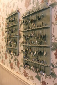 Silver spoon collection and floral wallpaper. Just like at Grama's house!