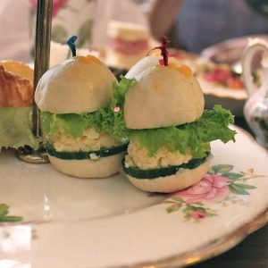 A closer look at these cute little egg salad sandwiches.