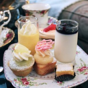Petite sweet treats on vintage tea ware from Adonia Tea House in Kerrisdale.