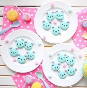 Tiffany Blue Rikuma Bear Macarons Using All-Batter w/ Template