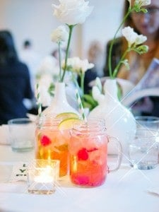 These mason jars filled with raspberry mojitos...
