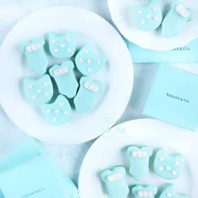 Tiffany blue baby shower macarons Fitting for a mama whoshellip