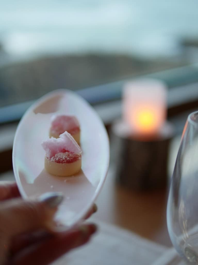 Rhubarb tart in a white chocolate shell Petit Four.