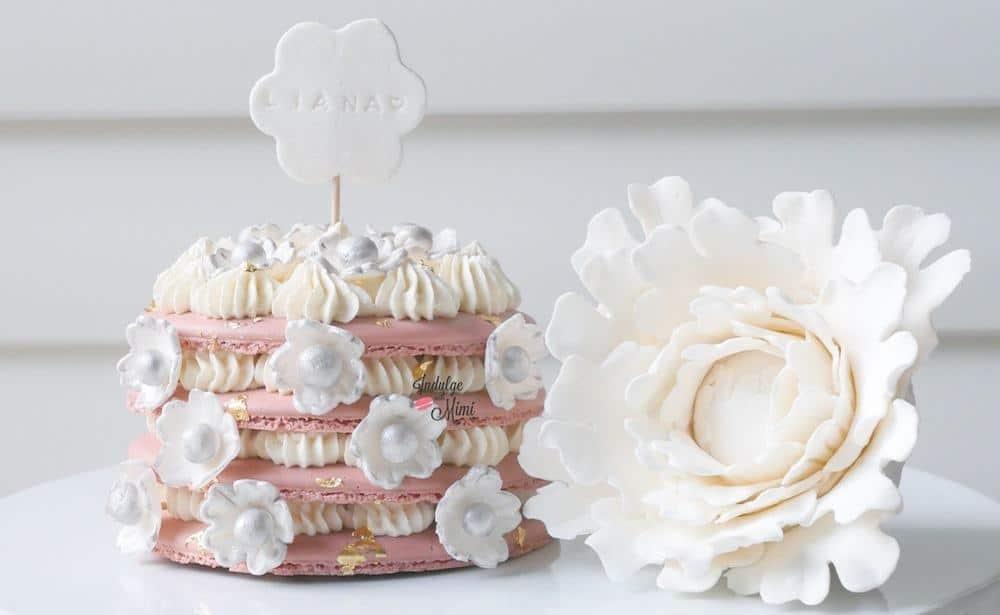 Cherry Blossom Flower Macaron Cake