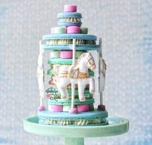 Horse Carousel Macaron Cake Collab with SILPAT Mats & GIVEAWAY (w/ Template)