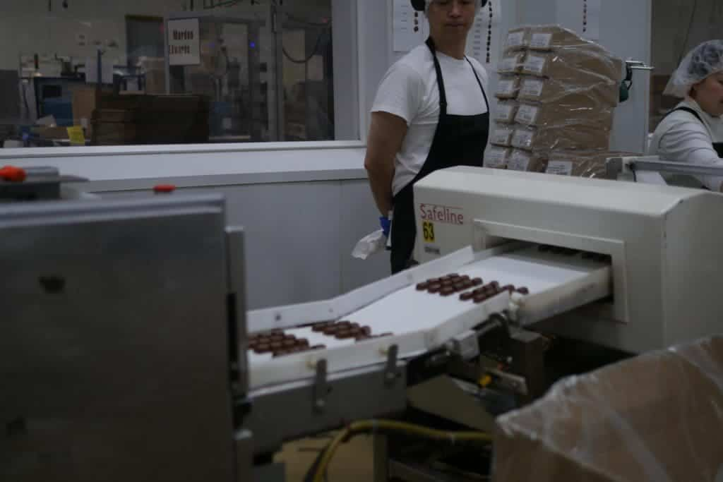 Chocolates in the final packaging line.
