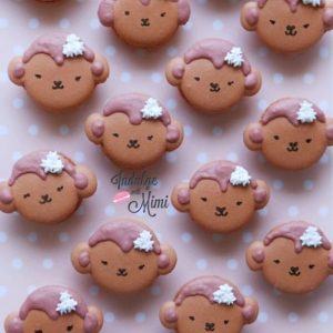Pink Baby Monkey Macarons with Template