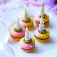 Magical Tri-Colored Unicorn Macarons with Green Tea Swiss Buttercream