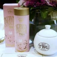 A carton of tea in a pink gift box at TWG tea.