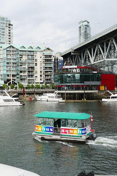 Aqua bus on Granville island water.