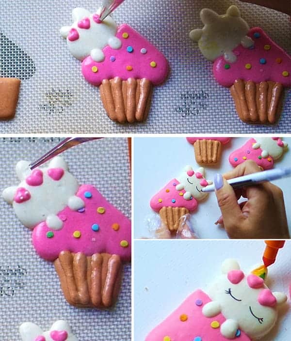piping heads onto kitty face on macaron batter.