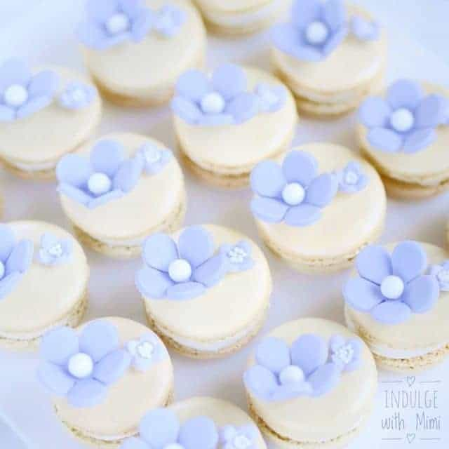 Lavender Lemon Macarons with gold shimmer dust for our floralhellip