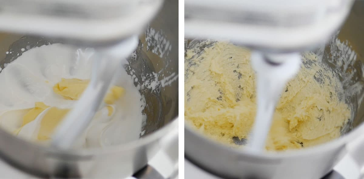 Butter being added to the mixture inside of a mixer.