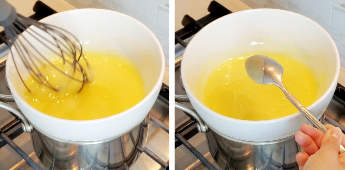 Mixture gently whisked inside a bowl, heated on a small metal pot on the stove.