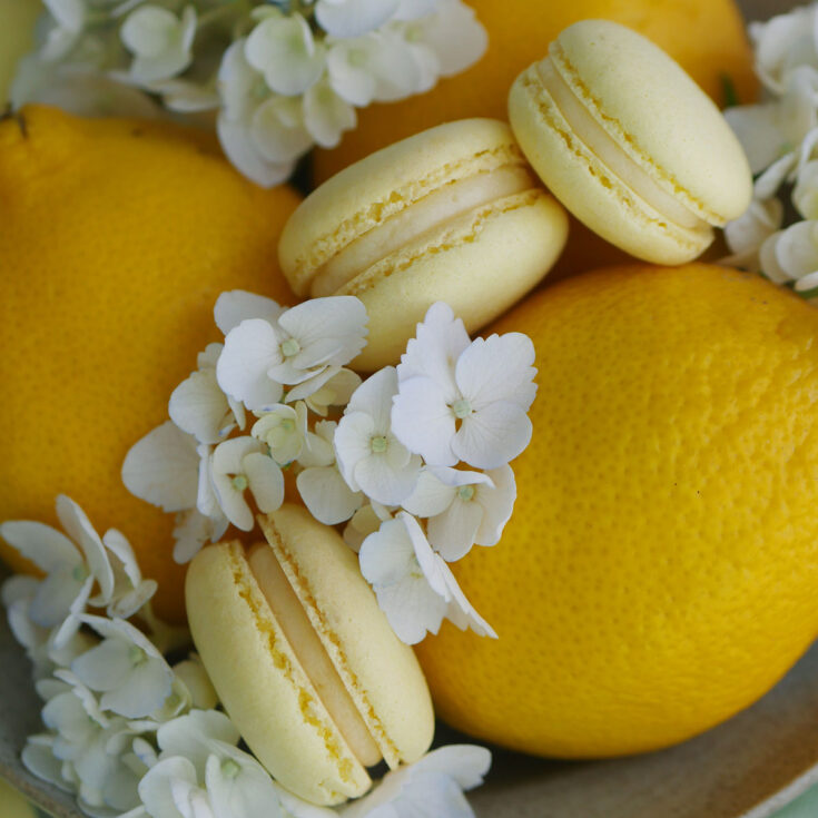 Lemon curd macarons on a dish with fresh lemons and white hydrangea flowers.