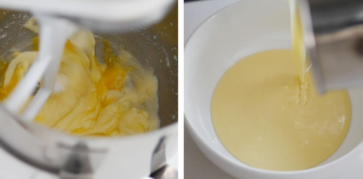 Egg whites, butter and sugar being whipped inside a mixer.