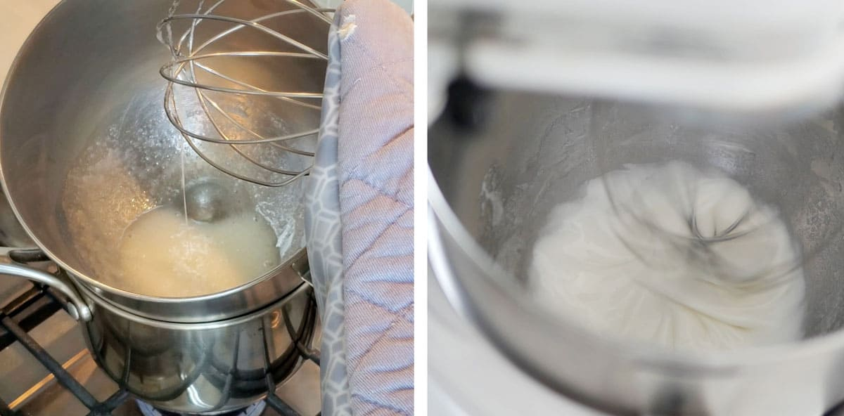 Egg whites and sugar heated in a large stainless steel bowl over a pot.