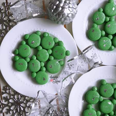 Green macarons with silver foil.