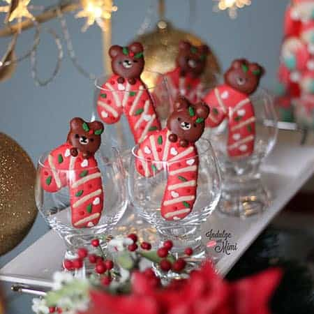Christmas bear macarons in candy cane shape.