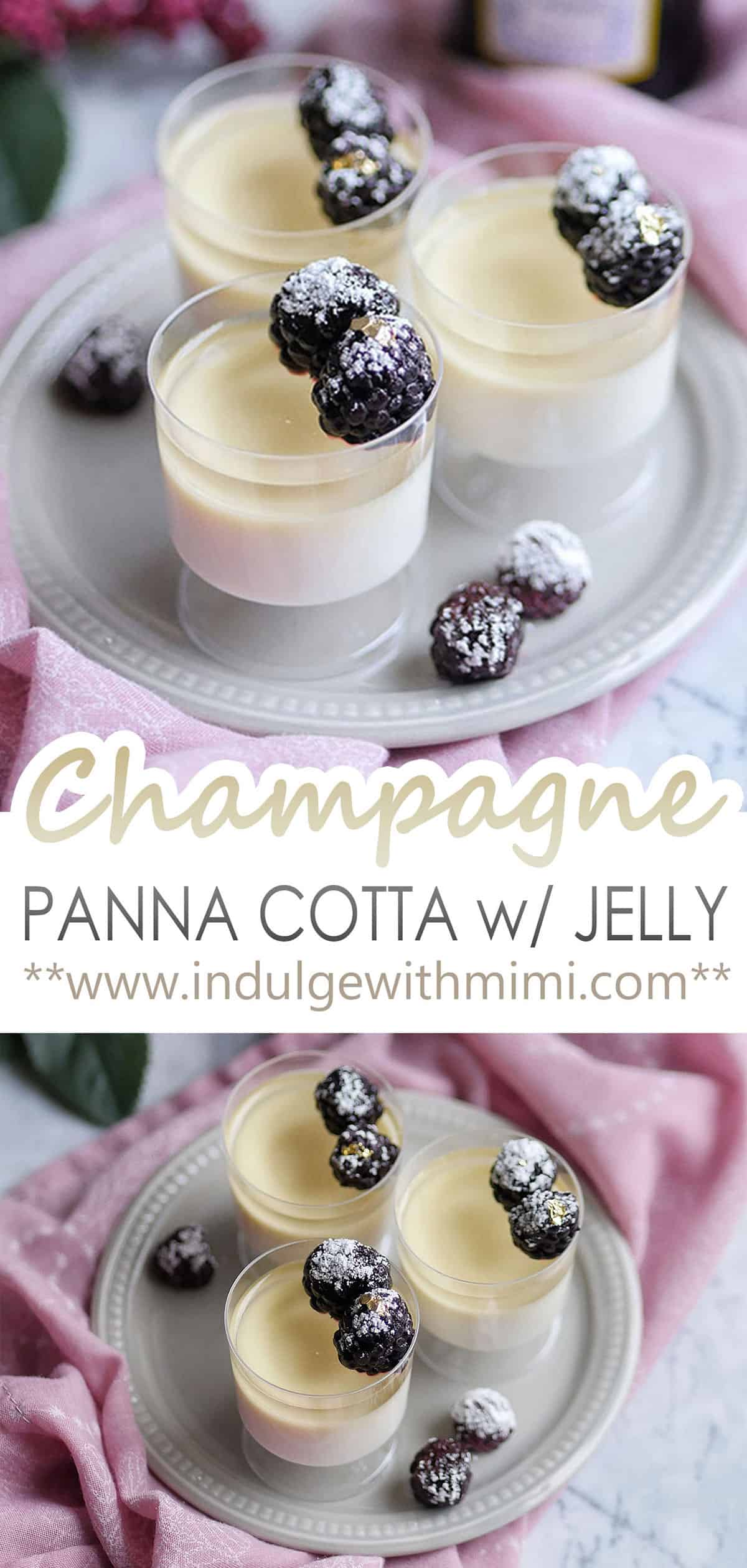 Champagne panna cotta in small cups topped with berries.