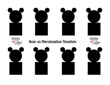 Bear on marshmallow macaron template.