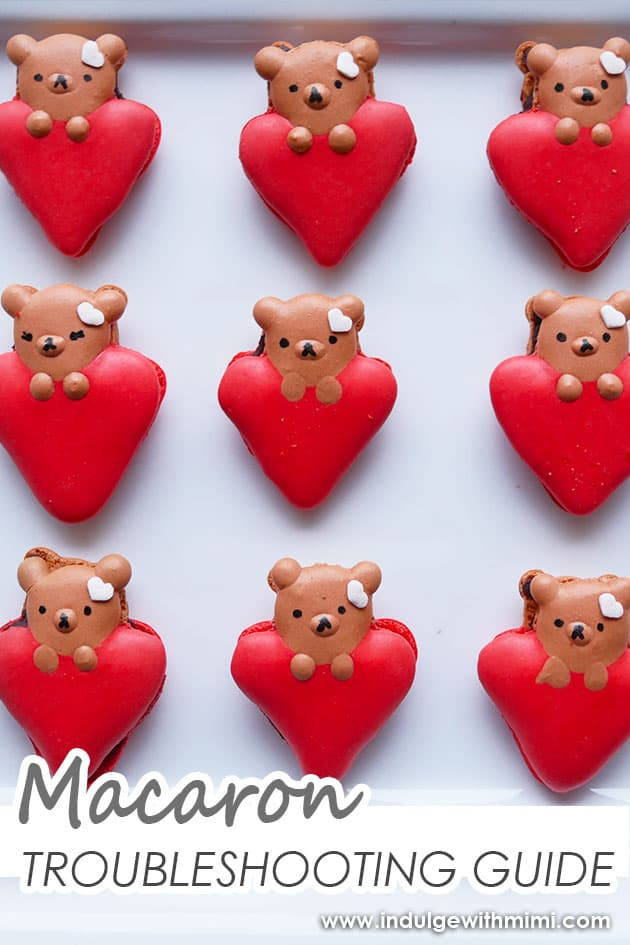 Valentine's day bears on heart macarons.