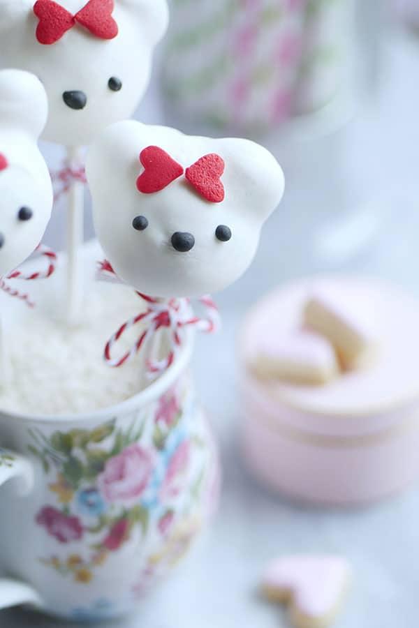 close up of bear cake pops.