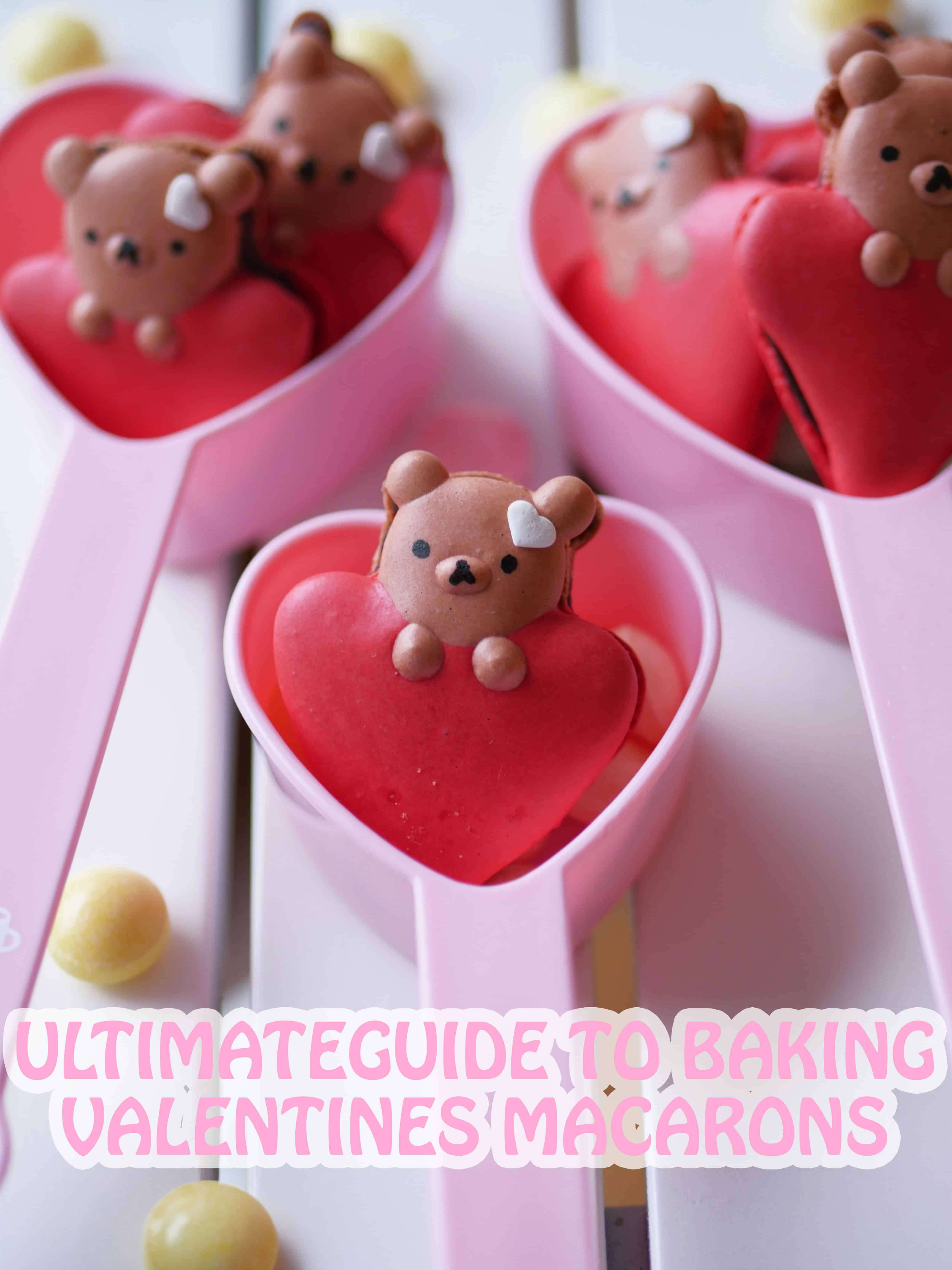 bear on heart macarons in a heart cup.