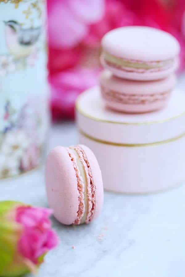 Close up of lychee macarons.