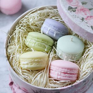 Shop macaron gifts deluxe powder gift set unscented macaron candles set of 5 with gift box negle Image collections