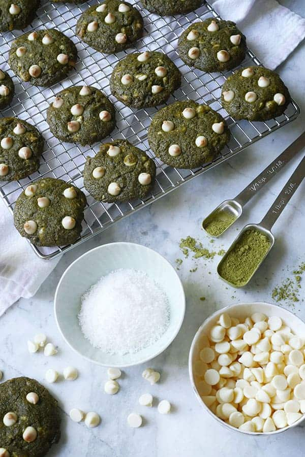 Matcha Cookies on a cooling rack.