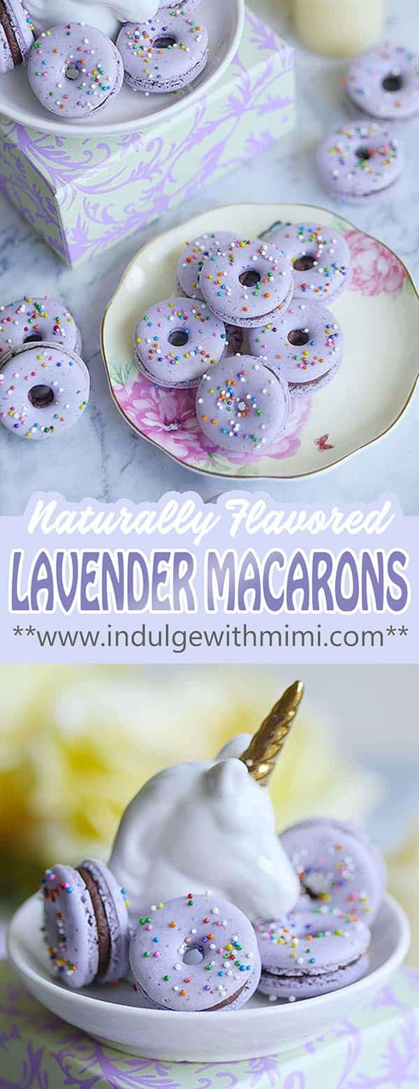 Lavender donut macarons on a unicorn stand.