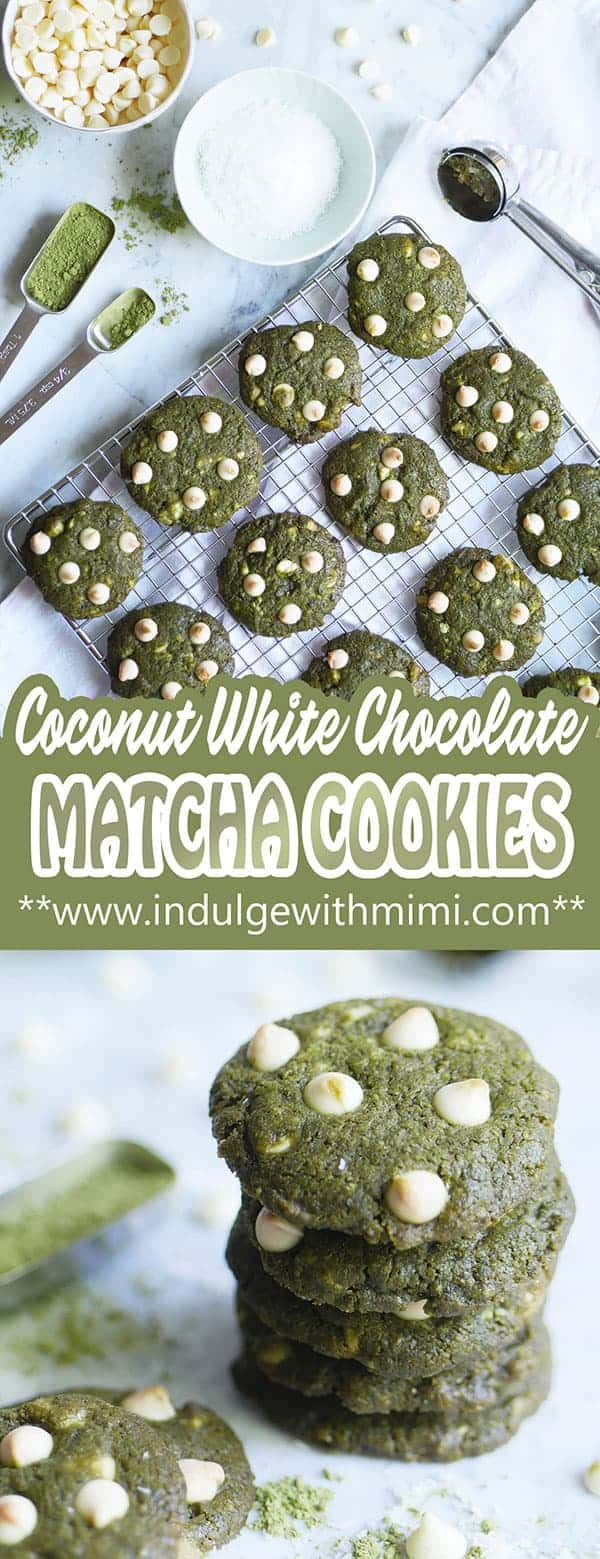 Matcha cookies cooling on a baking tray.