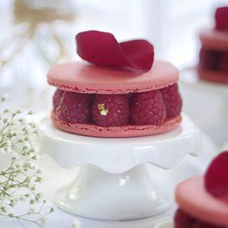 """Ispahan"" Inspired Macaron Cake with Fresh Lychees & Raspberries"