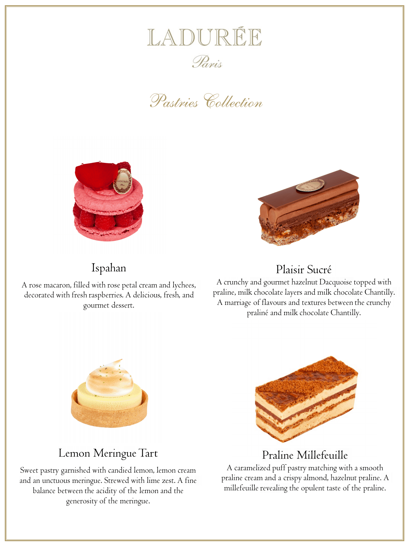 Dessert guide on the different treats available in store.