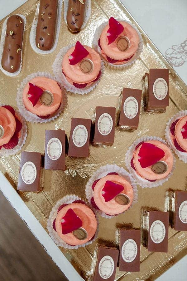 Overhead shot of Laduree desserts.