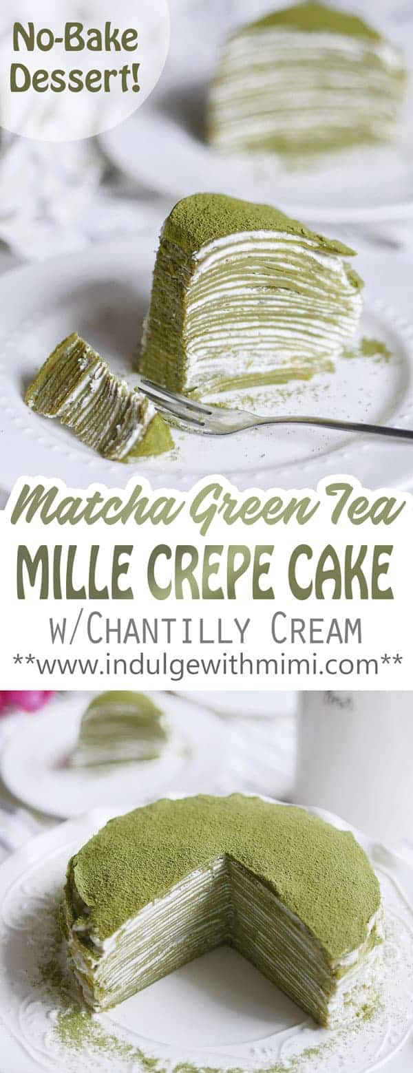 28 layers of matcha green tea crepes stacked with cream filling in between each layer to make a Japanese style mille crepe cake.