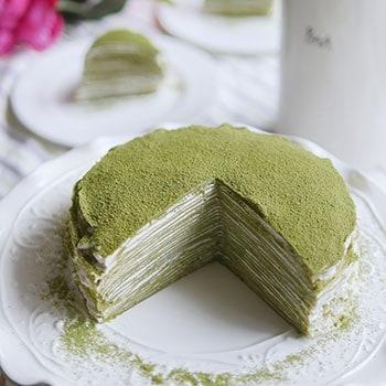 Peachy Japanese Matcha Mille Crepe Cake Funny Birthday Cards Online Aboleapandamsfinfo