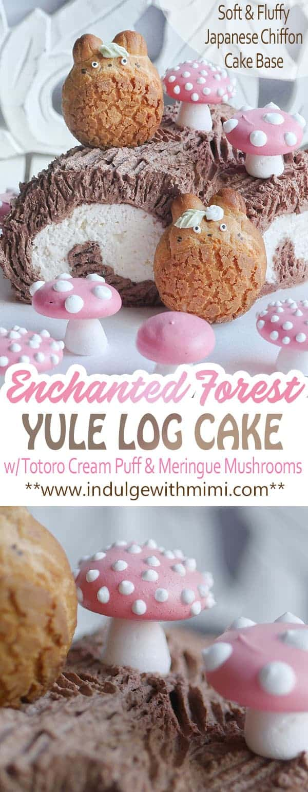 Enchanted Forest yule log with Totoro cream puffs on the side.