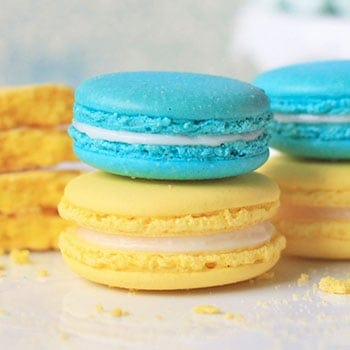 Mimi's best macaron recipe for making non-hollow macarons successfully at home or in a commercial kitchen. It covers proper macaronage techniques like aging the egg white, making the meringue, the figure-8 test,resting the shells and more.