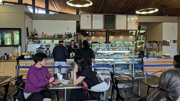 Cash register where customers line up to buy food at the Truffles Fine Foods cafe at Van Dusen Gardens.