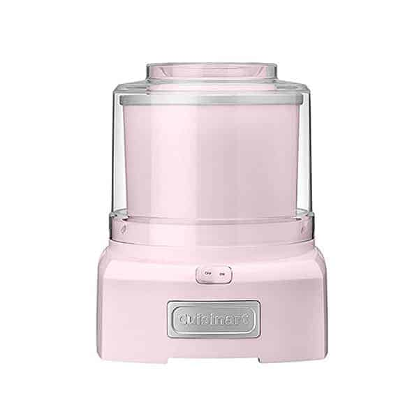 A baby pink ice cream maker.