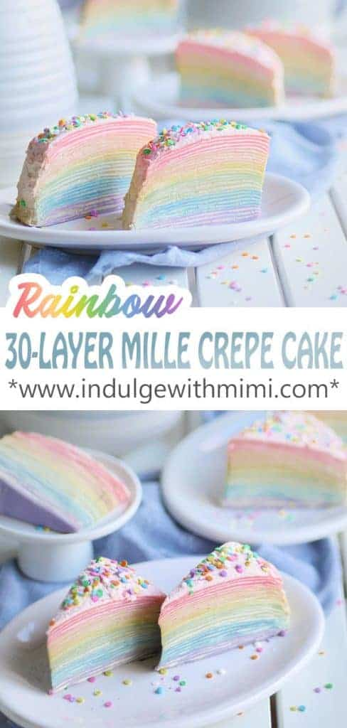 30 layers of crepes in a rainbow colored pattern.
