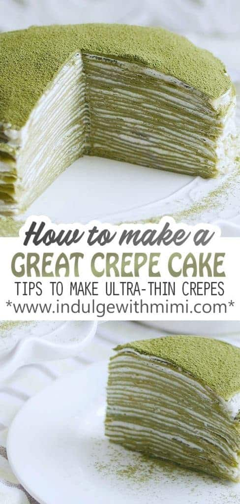 A mossy colored green crepe cake is sliced opened to reveal the many ultra-thin layers inside.