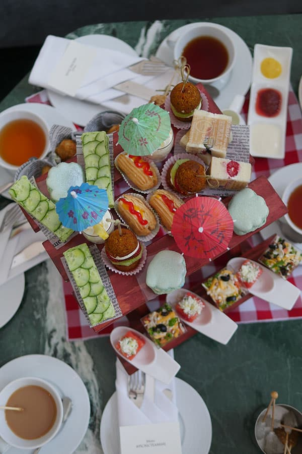 Flatlay view of the new picnic afternoon tea set at Trump Hotel.